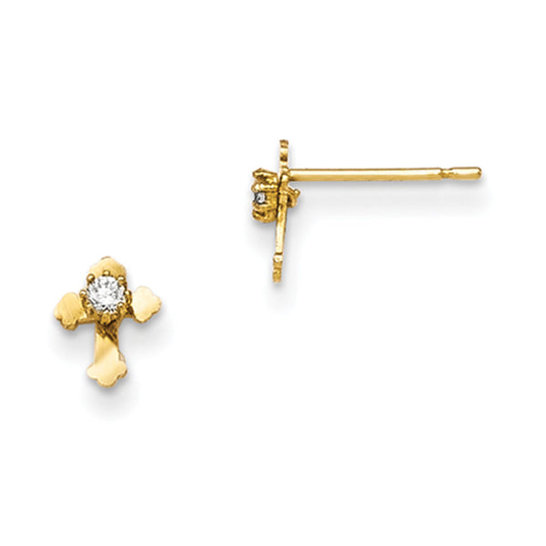 14kt Yellow Gold Budded Cross with CZ Stone Girls Stud Earrings