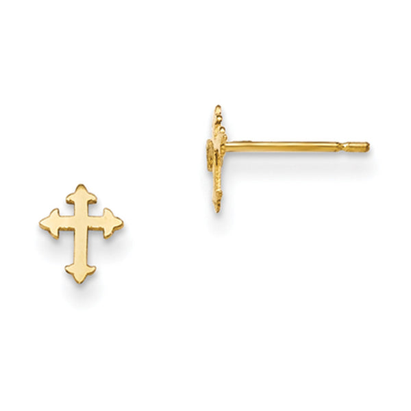 14kt Yellow Gold 6mm Fleur Cross Girls Stud Earrings