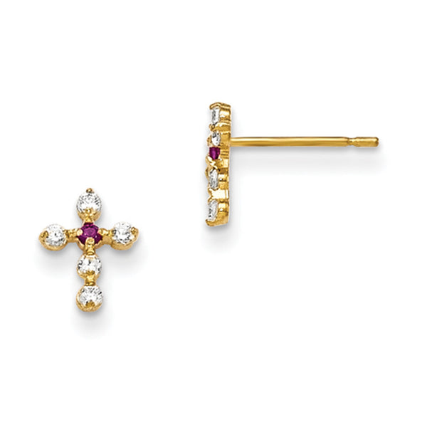 14kt Yellow Gold Purple and Clear CZ Stone Girls Cross Earrings