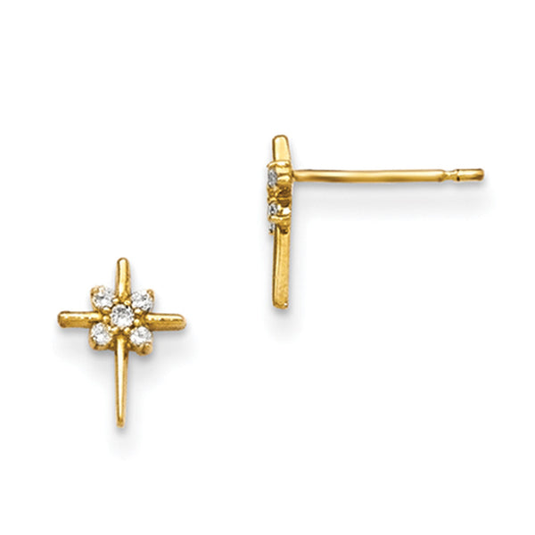 14kt Yellow Gold Fineline Cross with CZ Accent Girls Stud Earrings