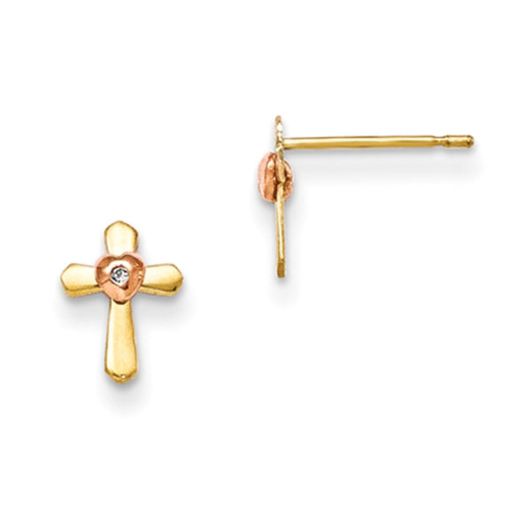 14kt Yellow Gold Rose Gold Two Tone Heart Girls Stud Earrings