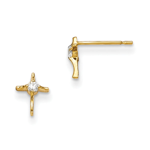 14kt Yellow Gold Strutted Cross with CZ Stone Girls Stud Earrings