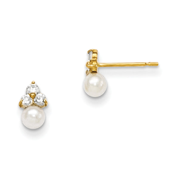 14kt Yellow Gold 3mm Cultured Pearl with CZ Trio Accent Girls Earrings