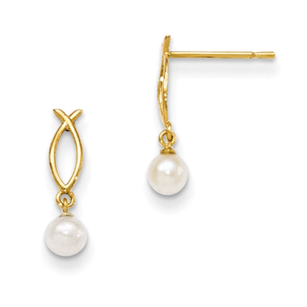 14kt Yellow Gold Ichthys with 4mm Cultured Pearl Girls Dangle Earrings