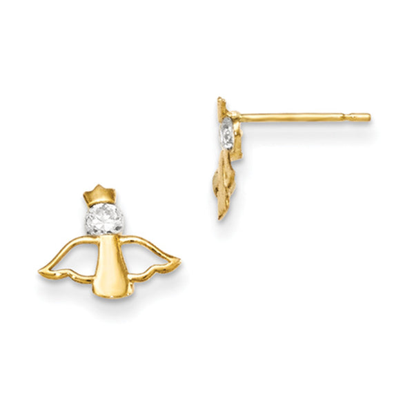 14kt Yellow Gold Crowned Cherub with CZ Accent Girls Post Earrings
