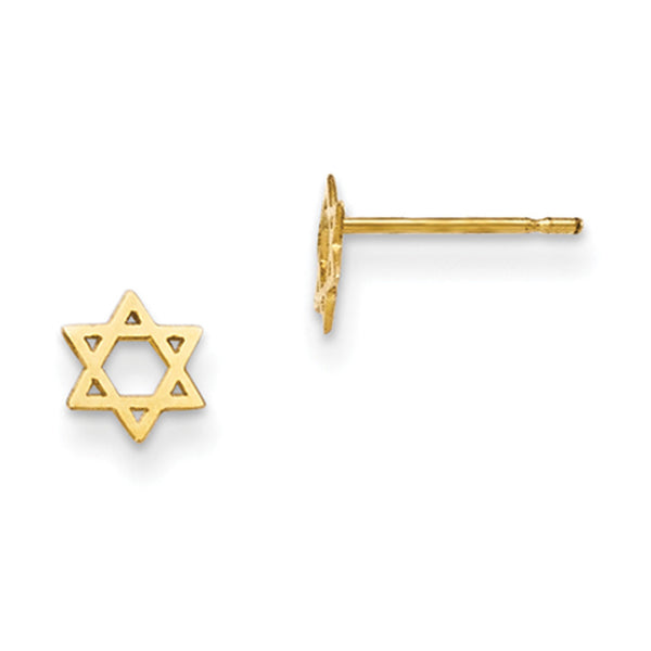 14kt Yellow Gold Star of David Girls Stud Earrings