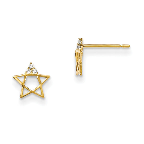 14kt Yellow Gold Pentagram with CZ Accent Girls Stud Earrings