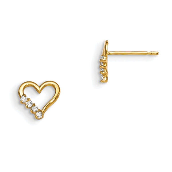 14kt Yellow Gold Hollow Heart with CZ Accent Girls Stud Earrings