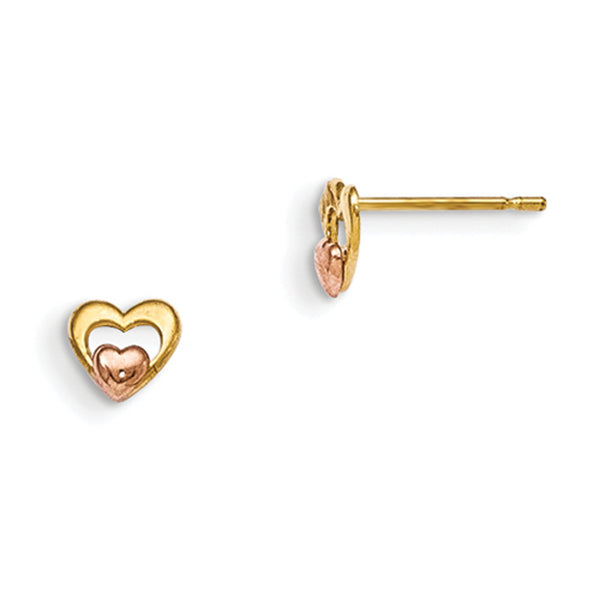 14kt Yellow Gold Two Tone Rose Gold Double Heart Girls Stud Earrings