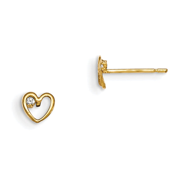 14kt Yellow Gold Cursive Heart Single CZ Accent Girls Stud Earrings
