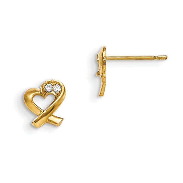 14kt Yellow Gold Folded Ribbon Heart with CZ Stones Girls Stud Earrings