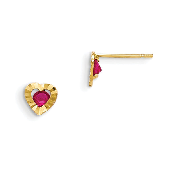 14kt Yellow Gold Prism Edged Heart with Red CZ Girls Stud Earrings