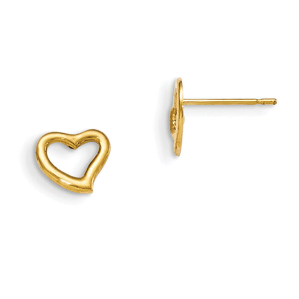 14kt Yellow Gold Rounded Edge Hollow Heart Girls Stud Earrings