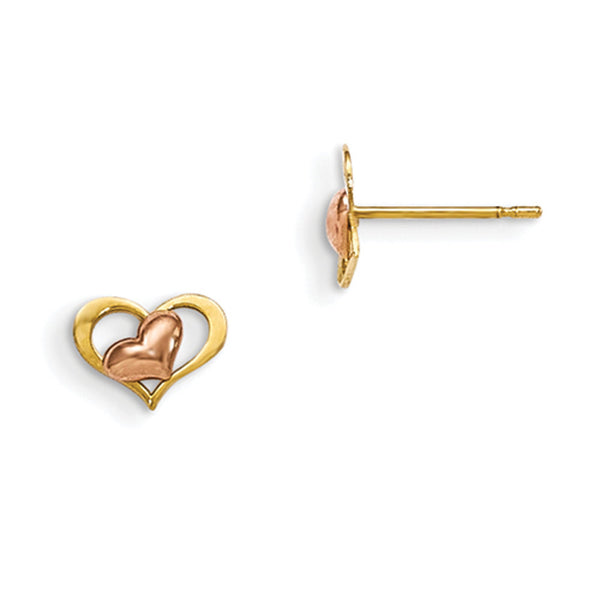 14kt Yellow Gold Two Tone Rose Gold Askew Heart Girls Stud Earrings