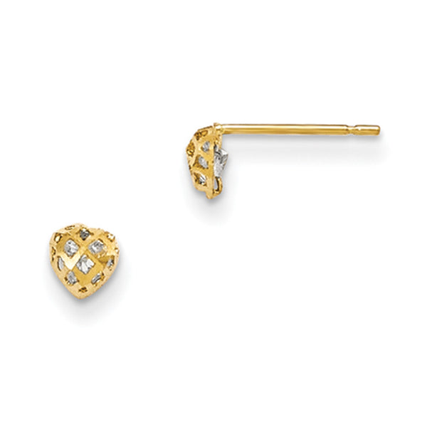 14kt Yellow Gold Basketweave 4mm Heart CZ Stone Girls Stud Earrings