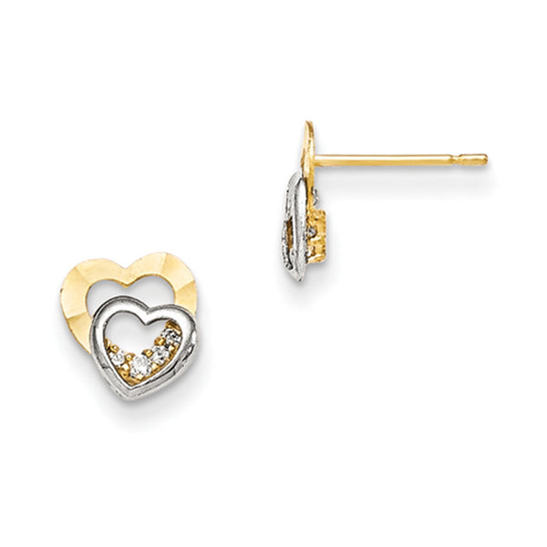 14kt Yellow Gold Two Tone Layered Heart with CZ Accent Girls Earrings
