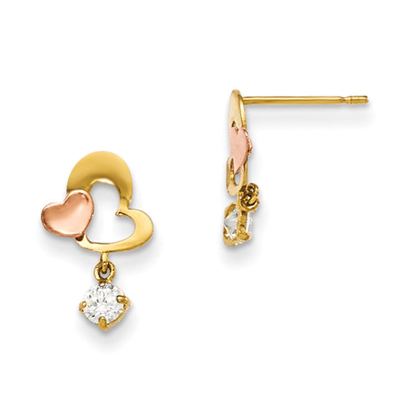 14kt Yellow Gold Two Tone Mod Heart CZ Accent Girls Dangle Earrings