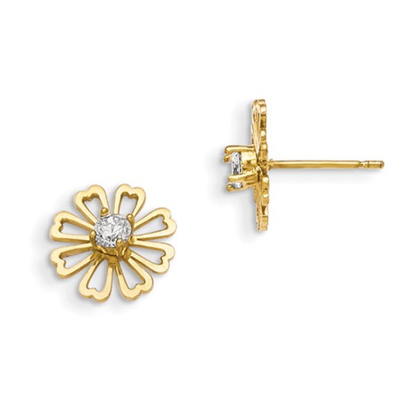 14kt Yellow Gold CZ Center Hollow Petal Floral Girls Stud Earrings