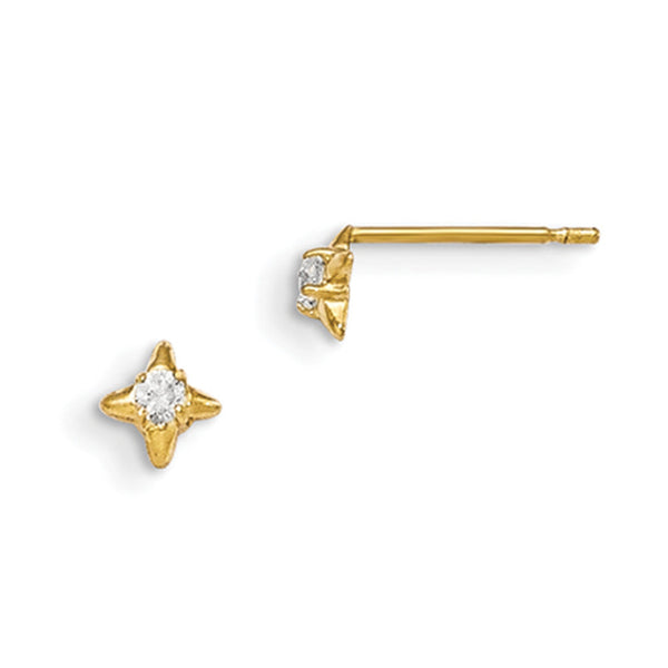 14kt Yellow Gold Four Pointed Star with CZ Accent Girls Stud Earring