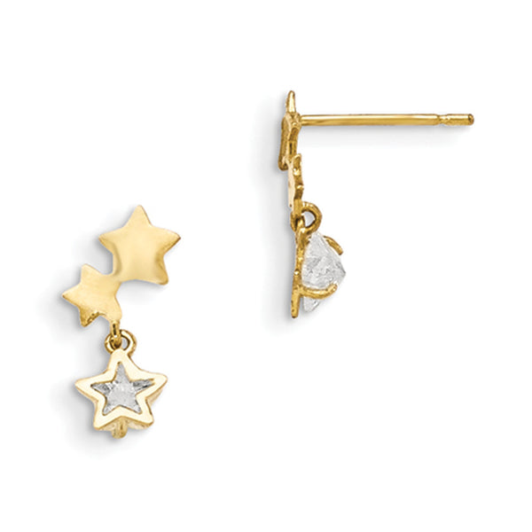 14kt Yellow Gold CZ Accented Triple Star Girls Dangle Earrings