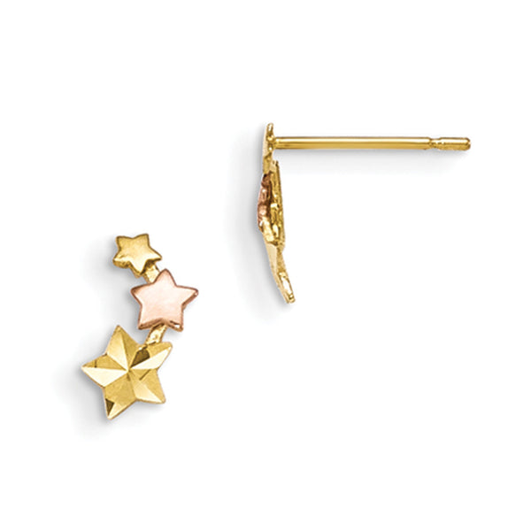 14kt Yellow Gold Two Tone Triple Solid Star Girls Stud Earrings