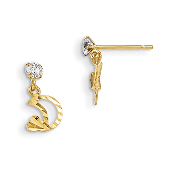 14kt Yellow Gold Crescent Moon with CZ Stone Girls Dangle Earrings