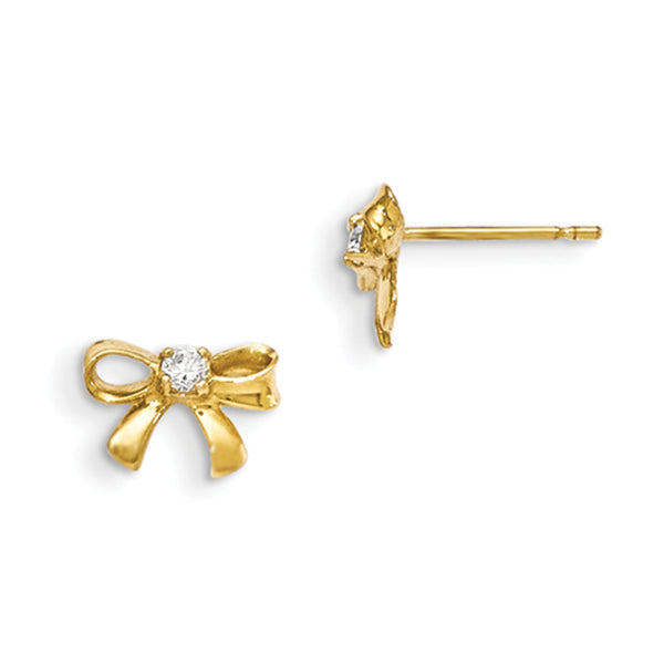 14kt Yellow Gold Bowtie with CZ Accent Girls Stud Earrings