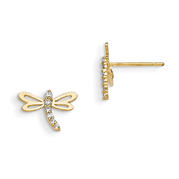 14kt Yellow Gold Dragonfly with CZ Coated Body Girls Stud Earrings