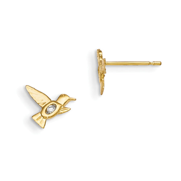 14kt Yellow Gold Flying Hummingbird with CZ Accent Girls Stud Earrings