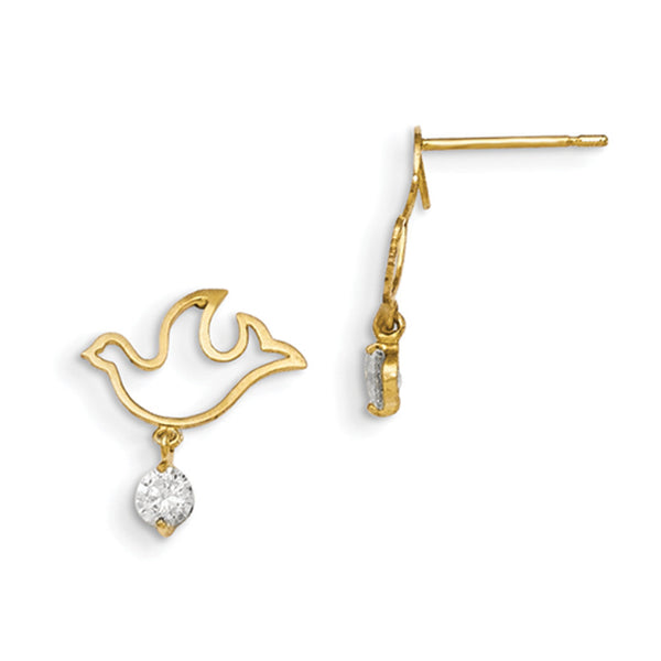 14kt Yellow Gold Hollow Dove with CZ Accent Girls Dangle Earrings