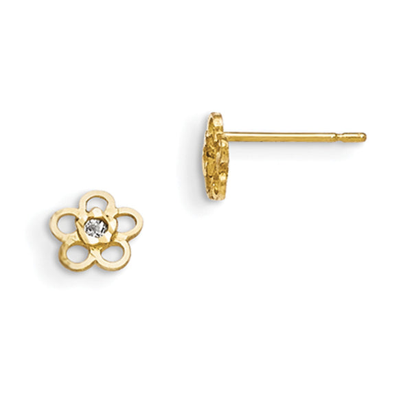 14kt Yellow Gold Rounded Flower with Bezel Set CZ Girls Stud Earrings