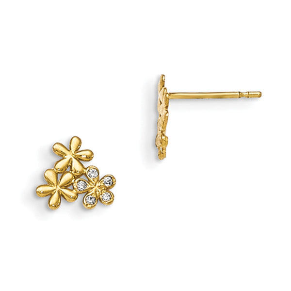 14kt Yellow Gold Floral Trio with Bezel Set CZ Girls Stud Earrings