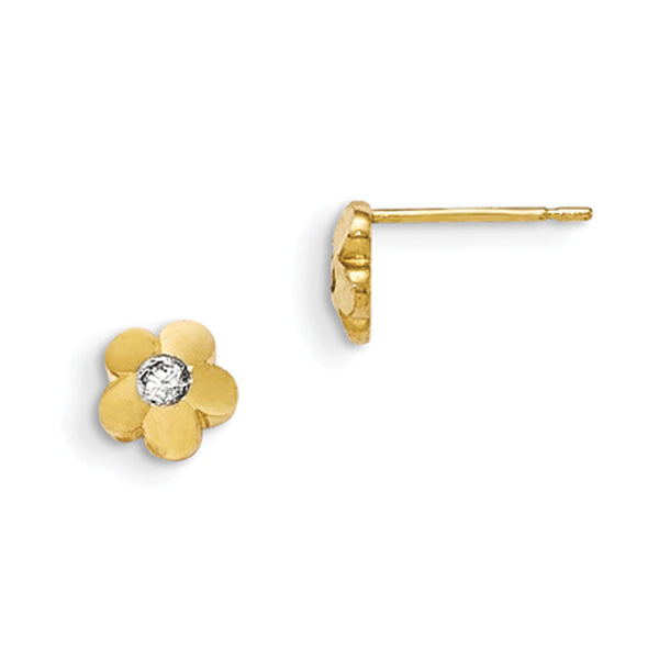 14kt Yellow Gold Solid Petal with Bezel Set CZ Girls Stud Earrings