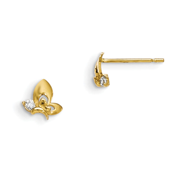 14kt Yellow Gold Gliding Butterfly with CZ Accent Girls Stud Earrings