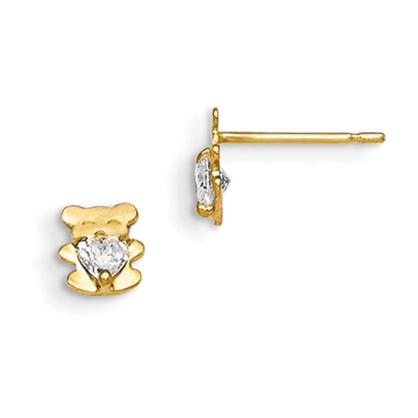 14kt Yellow Gold Bear with CZ Earrings