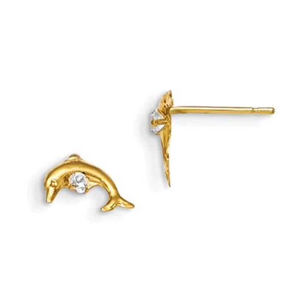14kt Yellow Gold Plunging Dolphin with CZ Accent Girls Stud Earrings