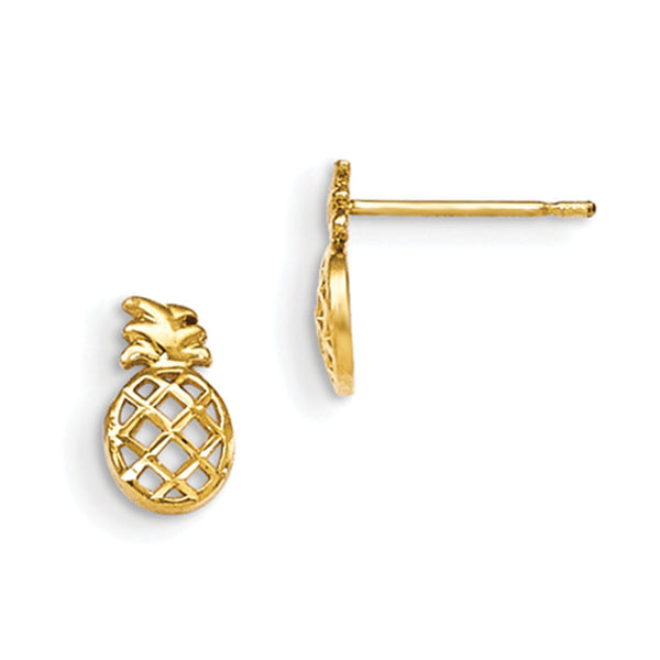 14kt Yellow Gold Tropical Pineapple Girls Stud Earrings