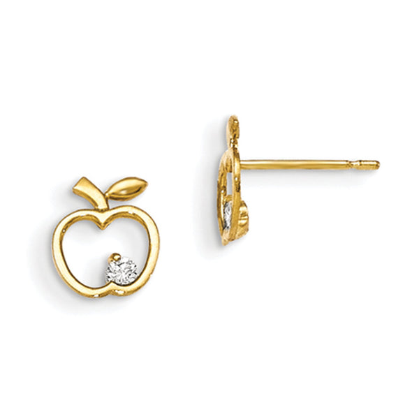 14kt Yellow Gold Hollow Apple with CZ Accent Girls Stud Earrings