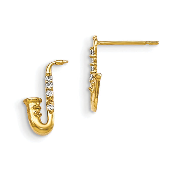 14kt Yellow Gold Jazzy Saxophone with CZ Accent Girls Stud Earrings