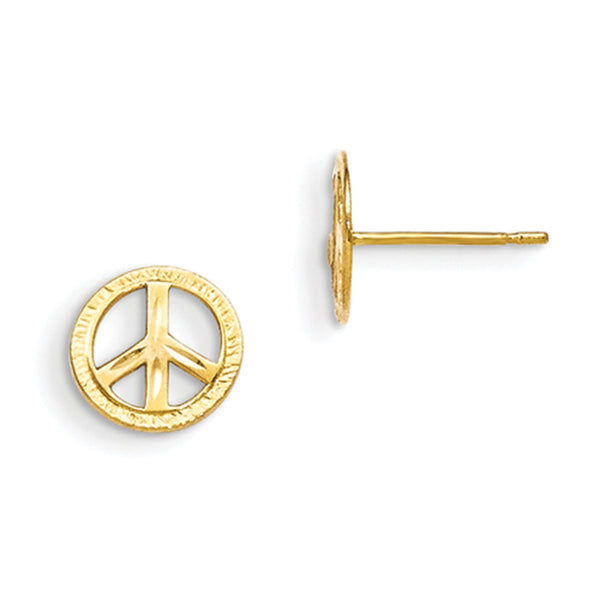 14kt Yellow Gold 7mm Universal Peace Symbol Girls Stud Earrings