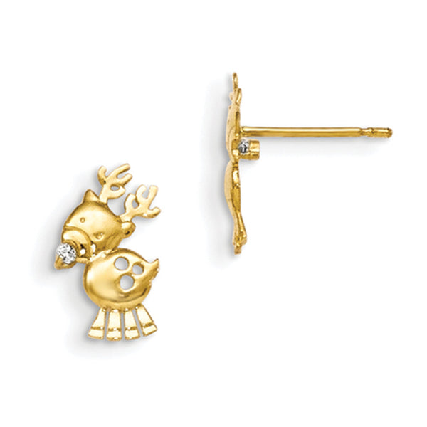 14kt Yellow Gold Spotted Christmas Reindeer Girls Stud Earrings