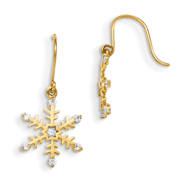 14kt Yellow Gold Snowflake with CZ Accent Girls Dangle Earrings