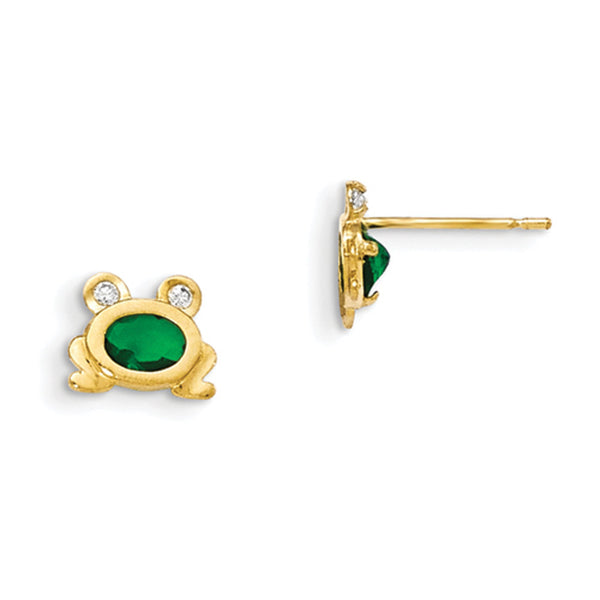 14kt Yellow Gold Sitting Froggy with Green CZ Stone Girls Stud Earrings