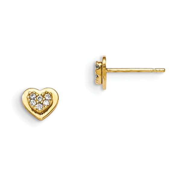 14kt Yellow Gold Heart Shaped CZ Interior Girls Stud Earrings