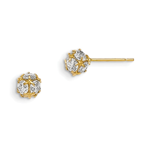 14kt Yellow Gold 5mm Wide Rounded CZ Sphere Girls Stud Earrings