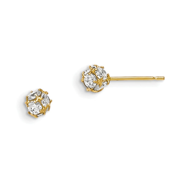 14kt Yellow Gold 4mm Wide Rounded CZ Sphere Girls Stud Earrings