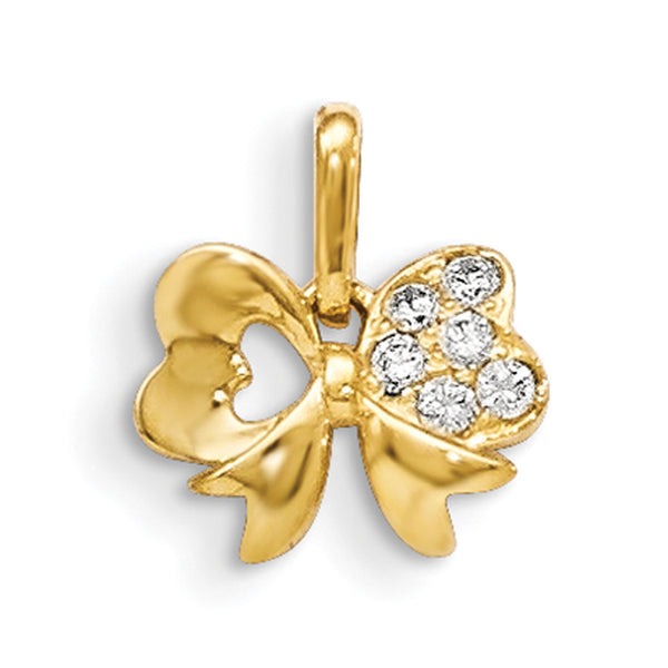 14kt Yellow Gold Lavish Bow Tie with CZ Accents Girls Pendant