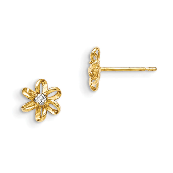 14kt Yellow Gold Ribbon Flower with CZ Core Girls Stud Earrings