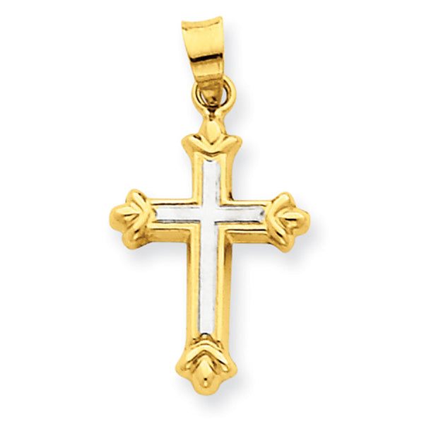 14kt Yellow Gold 25mm Two Tone Fleury End Girls Cross Pendant