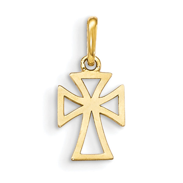 14kt Yellow Gold Hollow Cross of St George Girls Pendant